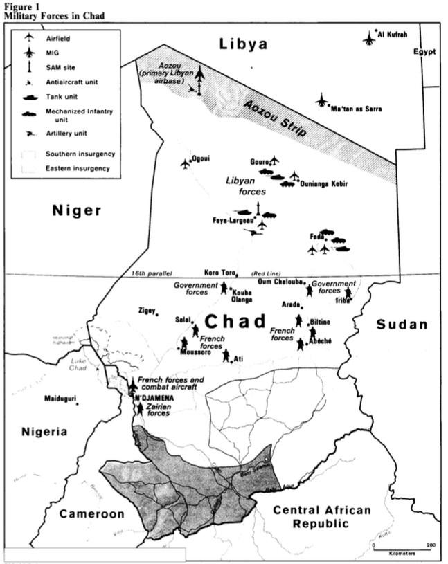 Un croquis des forces en présence au Tchad, dans les archives déclassifiés de la CIA.
