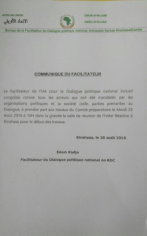 La position de l'ABACO sur la convocation au Comité préparatoire du Dialogue national en RDC