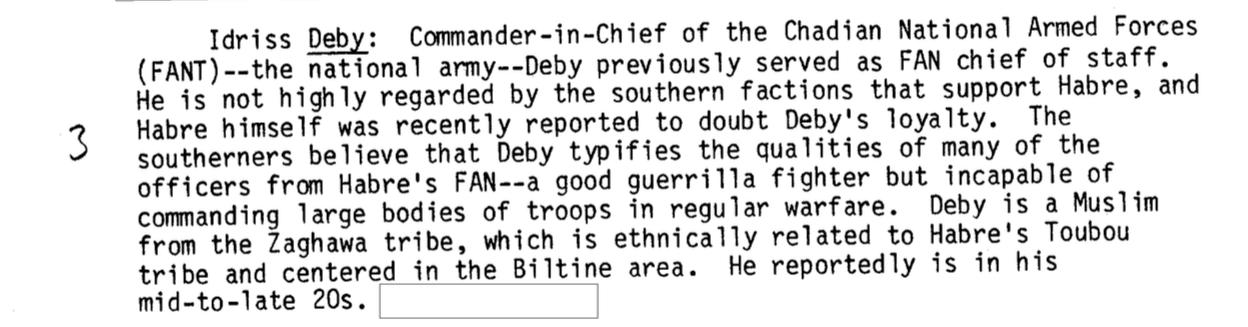 """La CIA cherchait le """"potentiel successeur de Habré"""", sept ans avant son éviction du pouvoir"""
