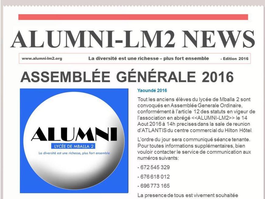 Cameroun:Tous les anciens du lycée de Mballa2 convoqués !