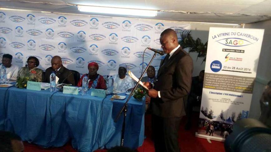 Patrice Assiga,promoteur du Sago,lors de son discours d'ouverture le 23 aout 2016 au Musée National à Yaoundé;devant les membres du gouvernement camerounais.Crédit photo:www.yaoundeinfo.com