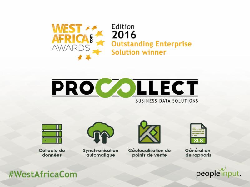 ProCollect, une solution innovante de collecte de données remporte le Trophée de la « Meilleure Solution pour Entreprises » aux West Africa Com Awards