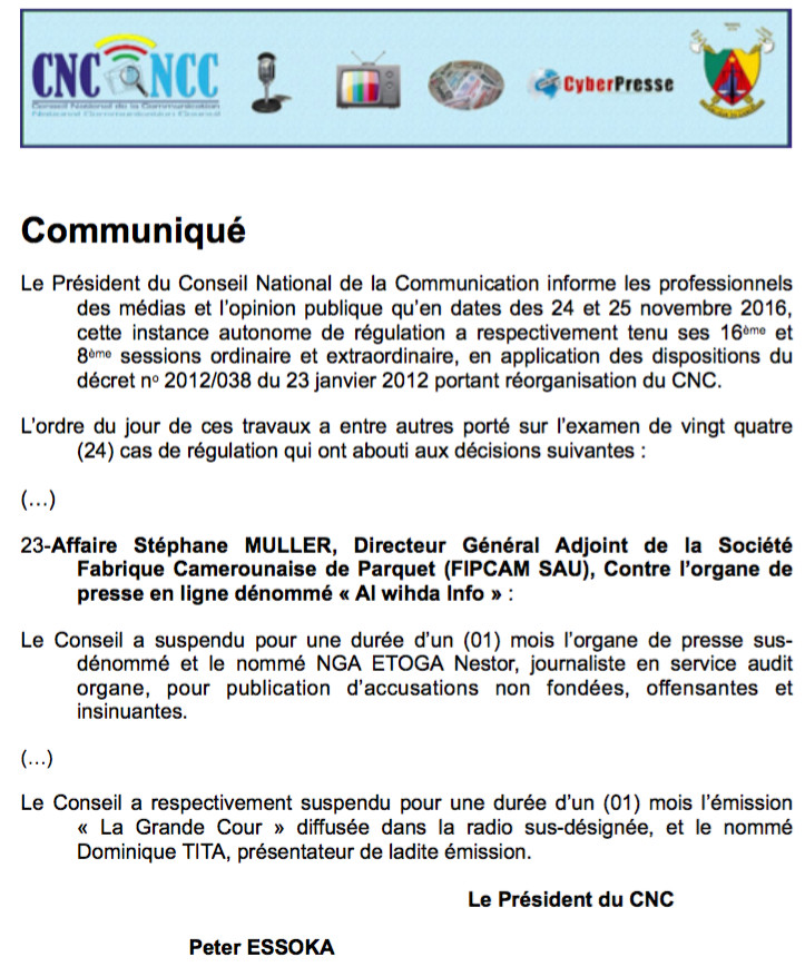CAMEROUN - Sanctions en série contre la presse par le Conseil national de la communication
