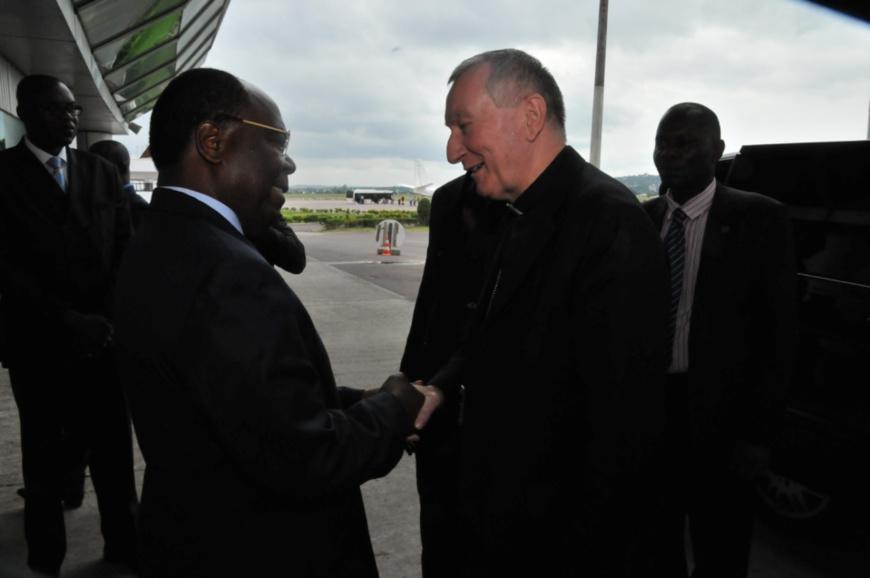 L'arrivée de l'envoyé du pape, le cardinal Pietro Parolin à Brazzaville