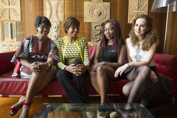 Quatre femmes d'affaires au AFRICA CEO FORUM. De gauche à droite: Tigui Camara, Diane Chenal, Ghislaine Ketcha Tessa, Neila Benzina. Credits: Jacques Torregano