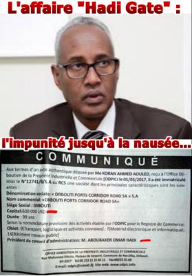 DJIBOUTI - L'affaire« Hadi Gate »: l'impunité jusqu'à la nausée…