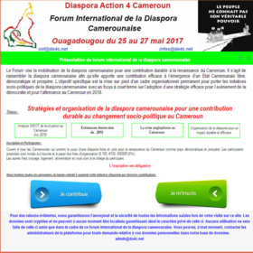 Le forum international  de la diaspora  camerounaise annoncé du 25 au 27 mai 2017 à Ouagadougou au Burkina faso