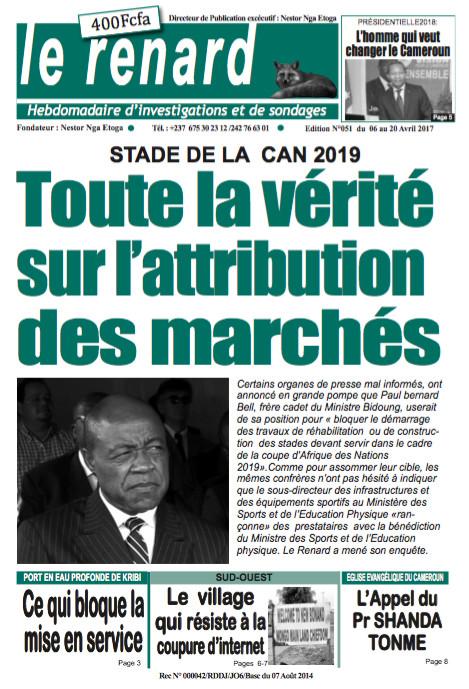 Cameroun : A la une du journal Le Renard