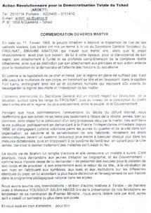 Tchad :  Commemoration de la mort du martyr IBrahim Abtcha