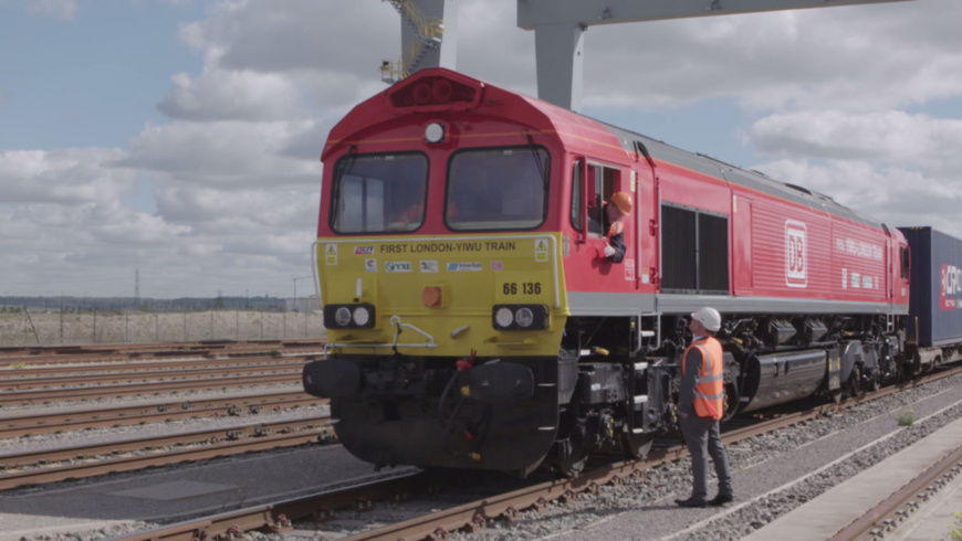 On April 10, 2017, the first London to Yiwu Sino-EU train is ready to start. (Photo provided by DP World London Gateway)