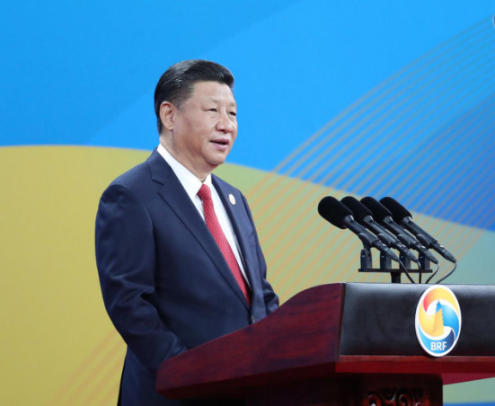 President Xi Jinping is delivering speech at the opening ceremony of the Belt and Road Forum. Photo by Xinhua