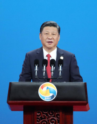 Chinese President Xi Jinping is delivering a keynote speech at the openning ceremony of the BRF on Sunday, May 14. Photo by Xihua News Agency