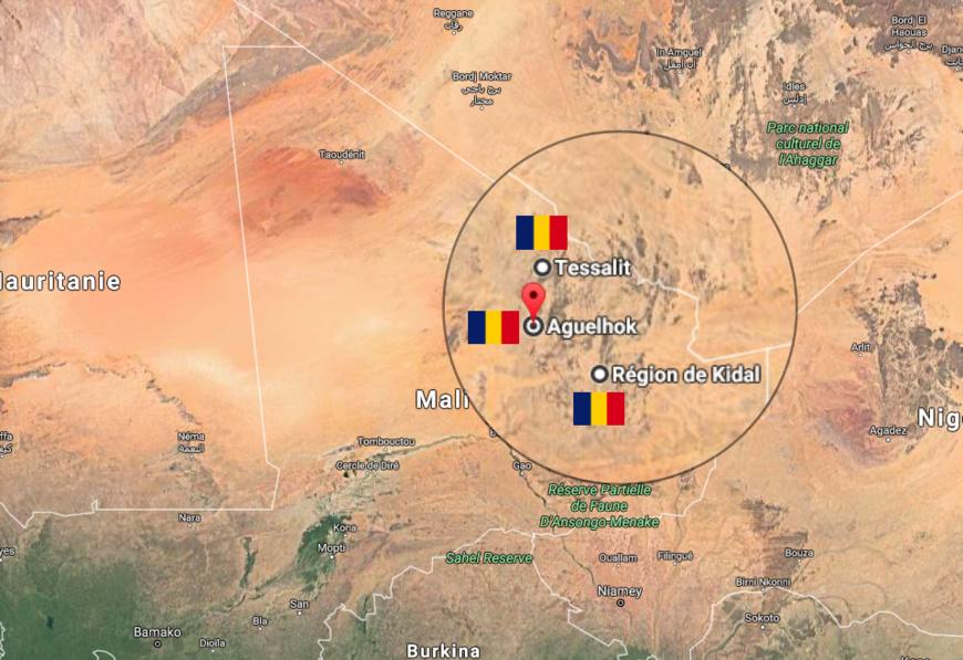 Les zones de déploiement de l'armée tchadienne au Mali /Maps google