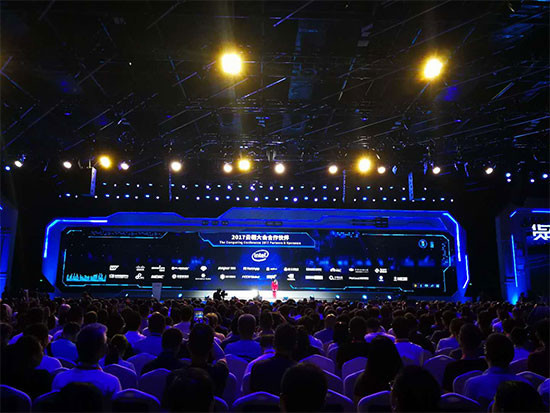 """""""The Computing Conference 2017"""" was held in Hangzhou, capital of east China's Zhejiang Province, Oct. 11, 2017. Themed as """"Apsara Intelligence"""", this year's conference ran until Oct. 14. (Photo: People's Daily Online)"""