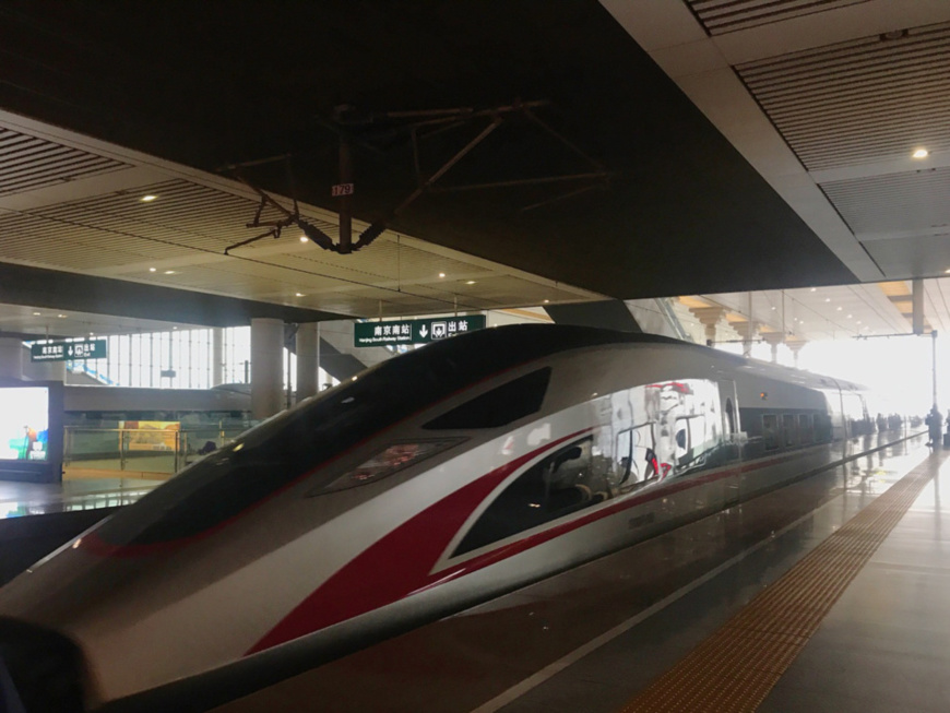 """China's self-developed bullet train, the """"Fuxing,"""" stops at a high-speed railway station in Nanjing, Jiangsu Province. (Photo by Qiang Wei from People's Daily)"""