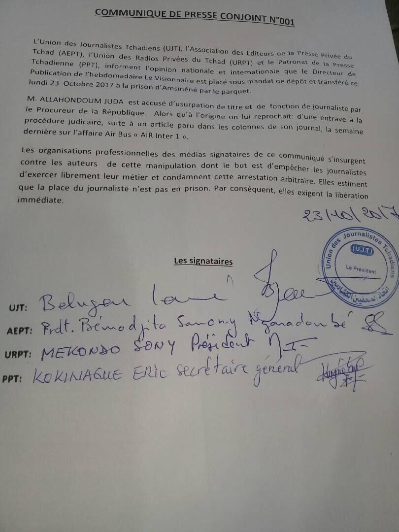 Tchad : Des corporations de la presse exigent la libération du directeur de publication du journal Le Visionnaire.