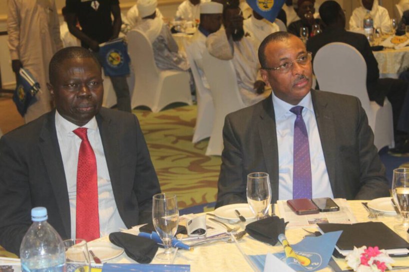 L'ex-ministre des Finances et du Budget, Christian George Diguimbaye lors de la rencontre de concertation avec le comité directeur de l'Union Nationale des Commerçants (UNC) et du Groupement Socio-professionnel (GSP) du Mouvement Patriotique du Salut (MPS), tenu le 17 novembre dernier au Hilton Hôtel. Alwihda Info