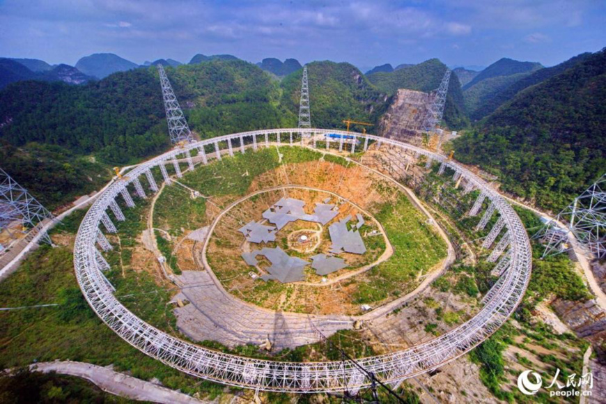 The Five-hundred-meter Aperture Spherical radio Telescope (FAST), the world's largest filled-aperture radio telescope in southwest China's Guizhou Province. (Photo from People's Daily Online)