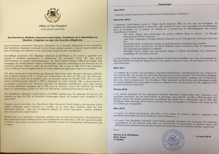 """La présidente de Maurice, Ameenah Gurib-Fakim """"rejette toute perspective de démission"""" (déclaration)"""