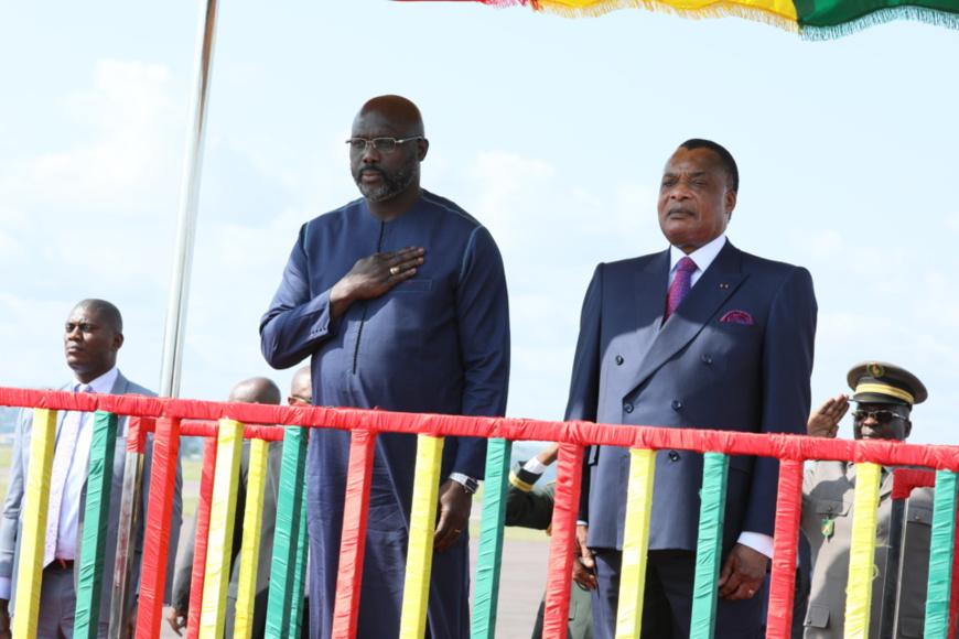 Les présidents Georges Weah et Sassou N'Guesso.