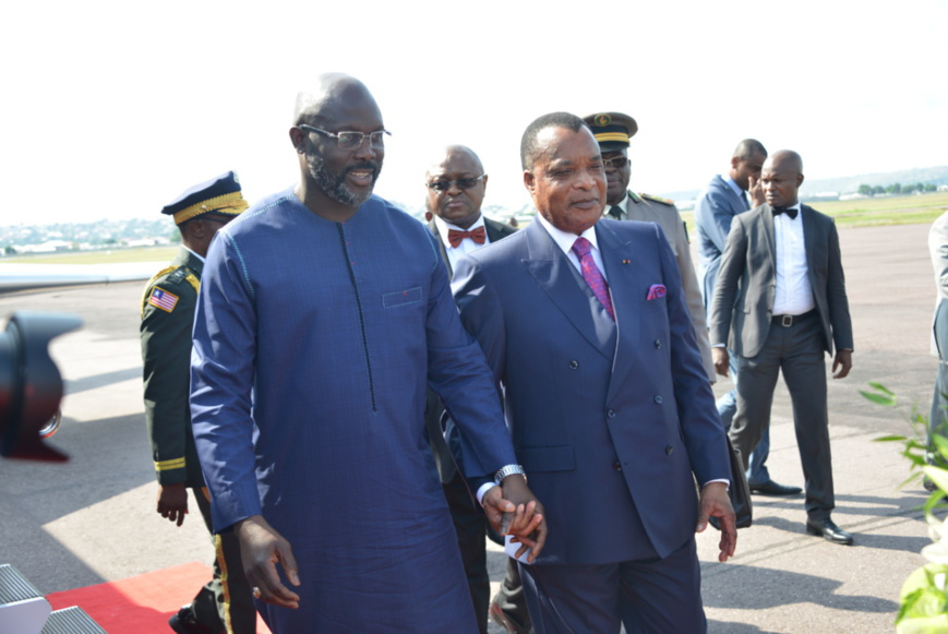 Denis Sassou N'Guesso et Georges Weah posent pour la postérité