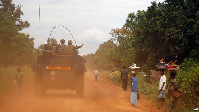 Un véhicule militaire en Centrafrique. Crédits : DR