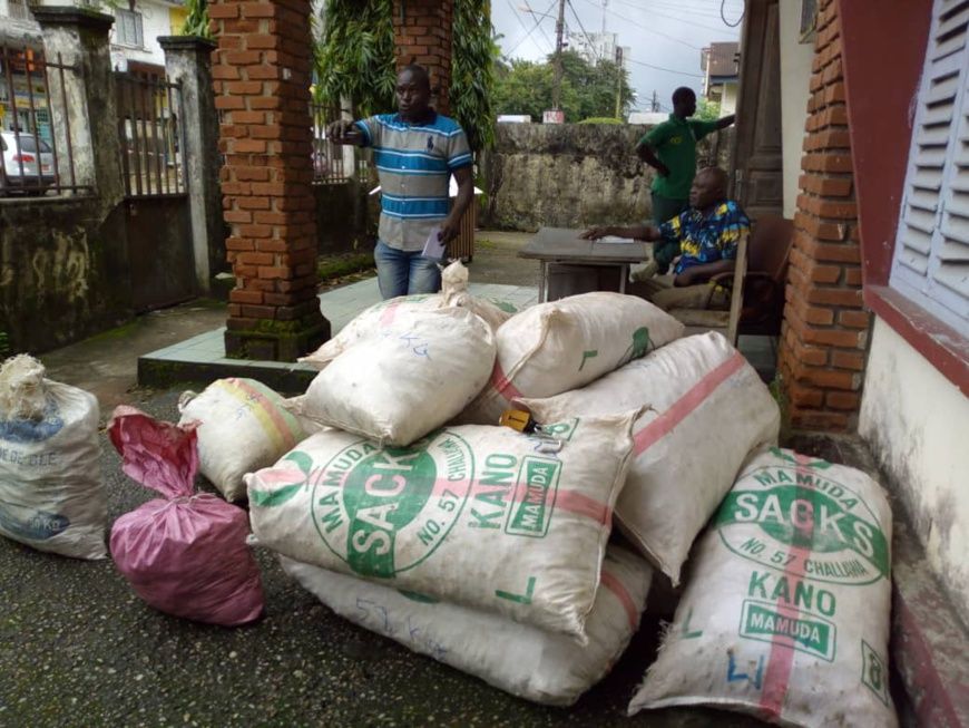 Les 700kg d'écailles de pangolins à la délégation régionale du ministère des Forêts et de la Faune à Douala.