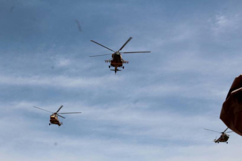 Des hélicoptères de combat de l'armée tchadienne. Alwihda Info/archives