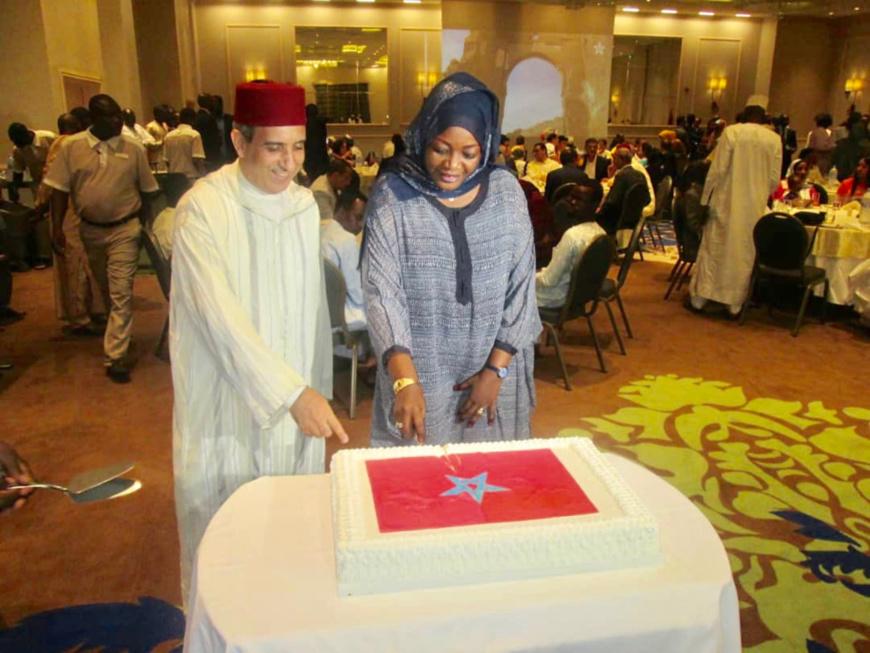Célébration le vendredi 30 juillet 2018, au Hilton Hôtel de N'Djamena, du 19ème anniversaire de l'accession de Sa Majesté le Roi Mohammed VI, au trône. Crédits : Alwihda Info/archives