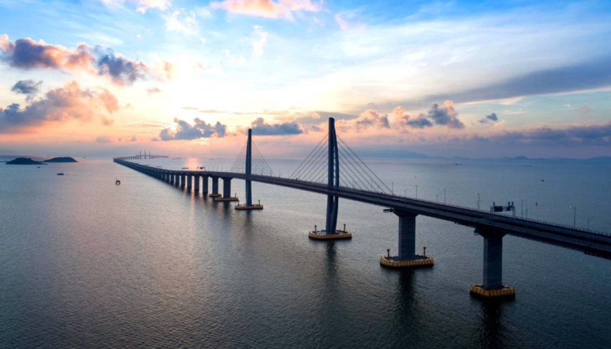 An aerial view of the Hong Kong-Zhuhai-Macao Bridge. At 55 kilometers, the bridge is the world's longest sea-spanning structure. (Photo/HZMB AUTHORITY)