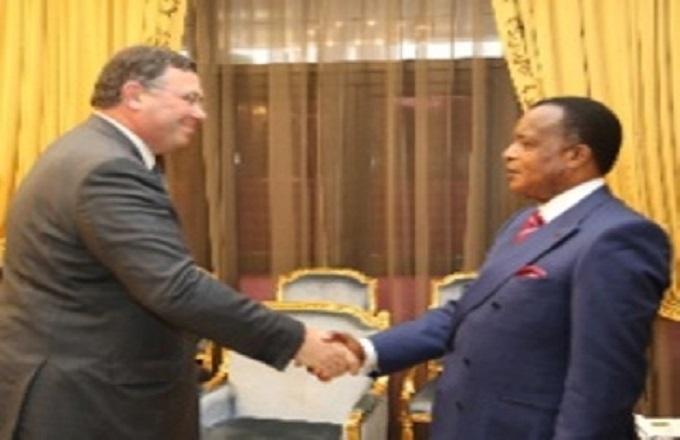 Denis Sassou N'Guesso- Patrick Pouyanne (Photo d'archives-les Echos du Congo)