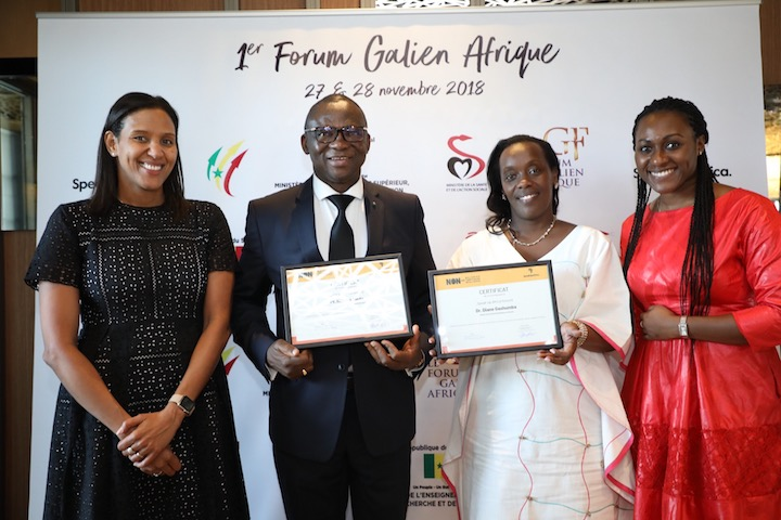 """""""Le Ministre de la Santé du Rwanda, Dr. Diane Gashumba et le Ministre de la Santé du Burkina Faso, Pr. Nicolas Meda, soutiennent le lancement du mouvement panafricain """"Non aux MTN"""" lors du premier Forum Galien Afrique."""""""