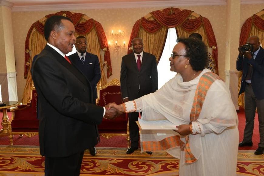 Mme Lulit Gebremariam présentant ses lettres de créances à Sassou N'Guesso.
