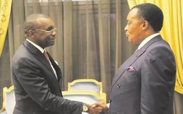 Poignée de main Sassou N'Guesso-Antoine Gondha (à gauche)