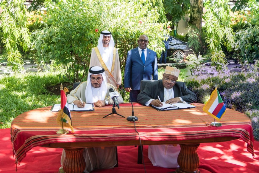 Comoros President and Al Mazrouei attending the MoU signing ceremony (Photo: AETOSWire)