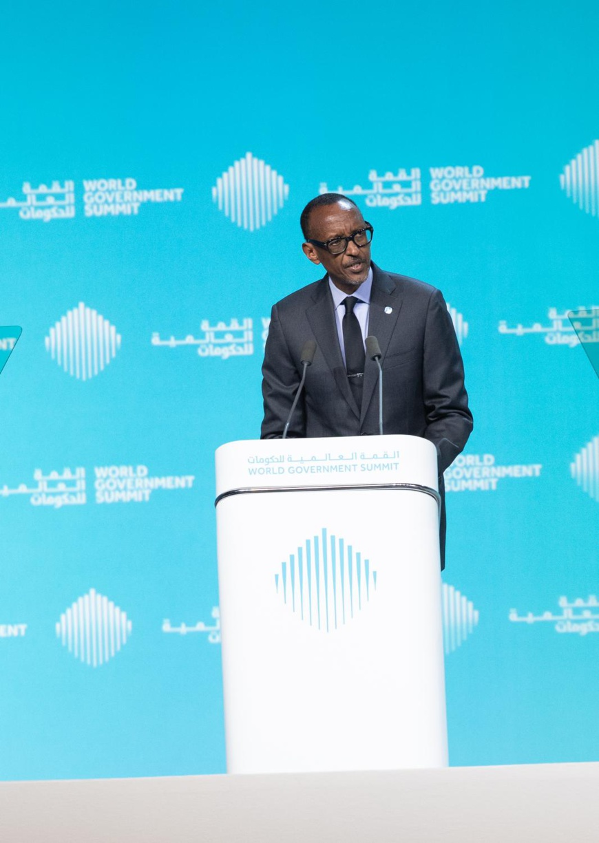 Unlimited potential. Paul Kagame, President of Rwanda, addresses the World Government Summit in Dubai. Should Africa become a united continent, he says it will realize it's full potential. © AETOSWire