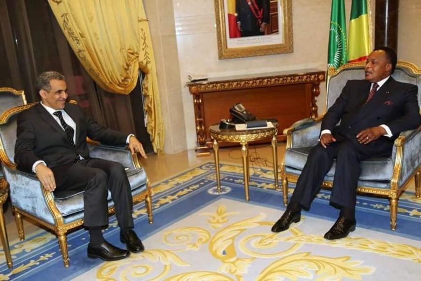 Denis Sassou N'Guesso et Mohamed LEMINE Ould Raghani, au cours de leurs échanges.