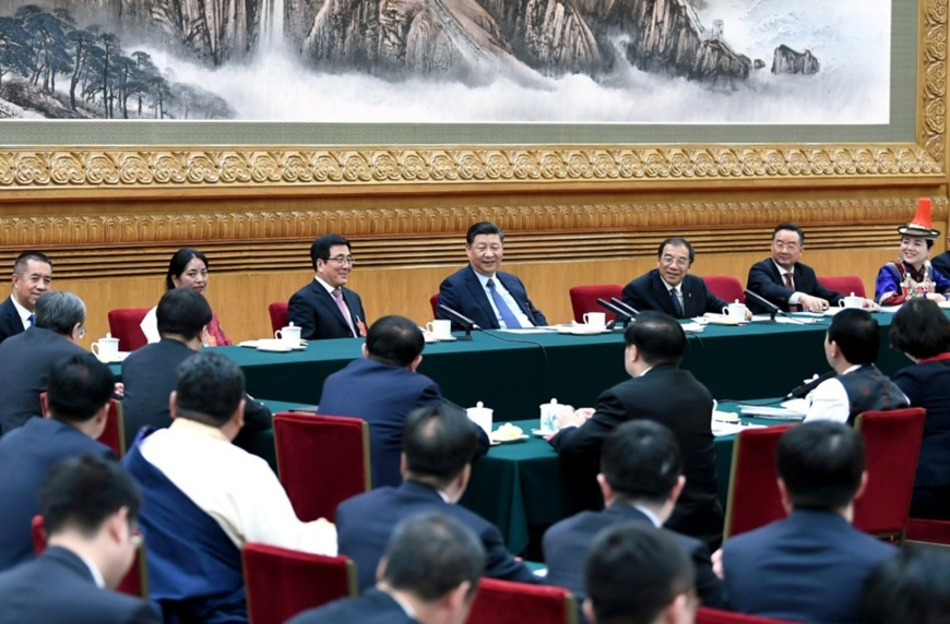 Chinese President Xi Jinping, also general secretary of the Communist Party of China (CPC) Central Committee and chairman of the Central Military Commission, joins deliberation with deputies from Gansu Province at the second session of the 13th National People's Congress in Beijing, capital of China, March 7, 2019. (Xinhua/Xie Huanchi)
