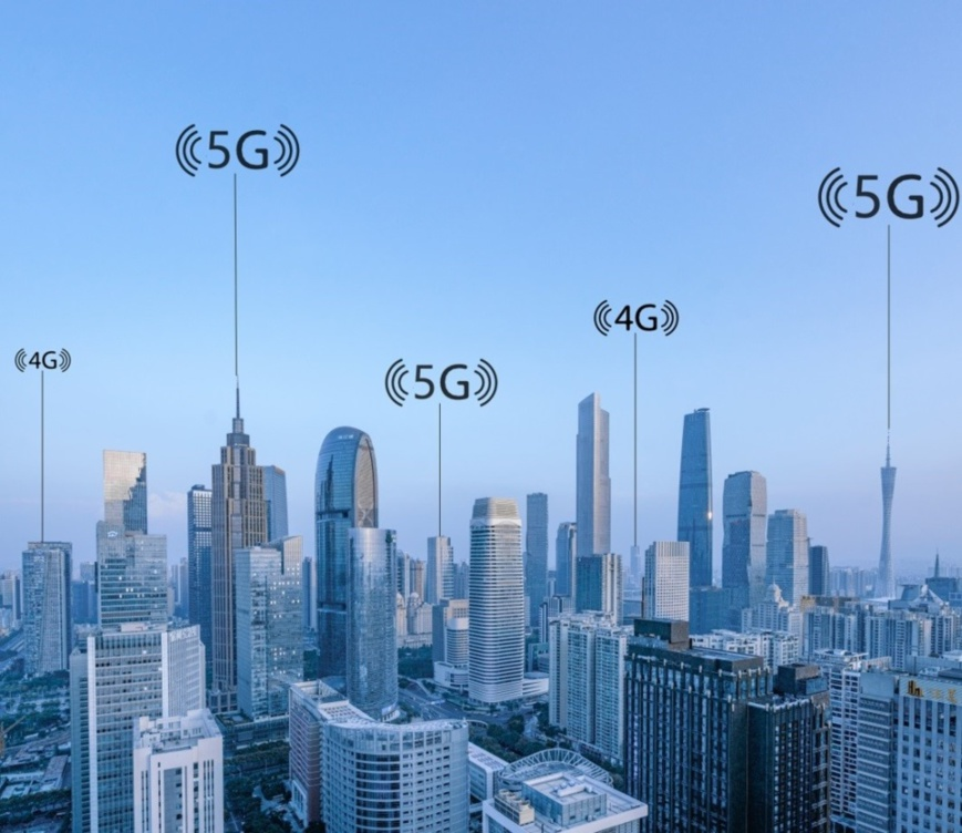 The 5G concept map of big data wireless network of city scenery in Pearl River New Town, Tianhe District, Guangzhou Photo: CFP