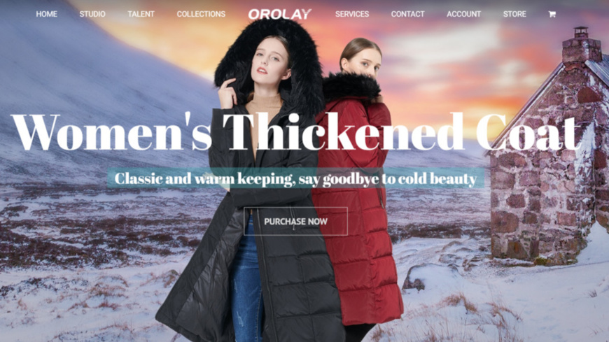 The down jackets displayed on the official websites of Orolay. (Photo: Courtesy of Orolay official website)