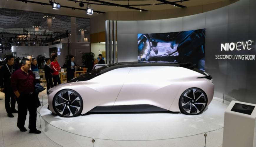 A concept car of Chinese electric automaker Nio is exhibited at Haikou New Energy Vehicle Exhibition in Haikou, south China's Hainan province, Jan. 10, 2019. (Photo by Xinhua News Agency)