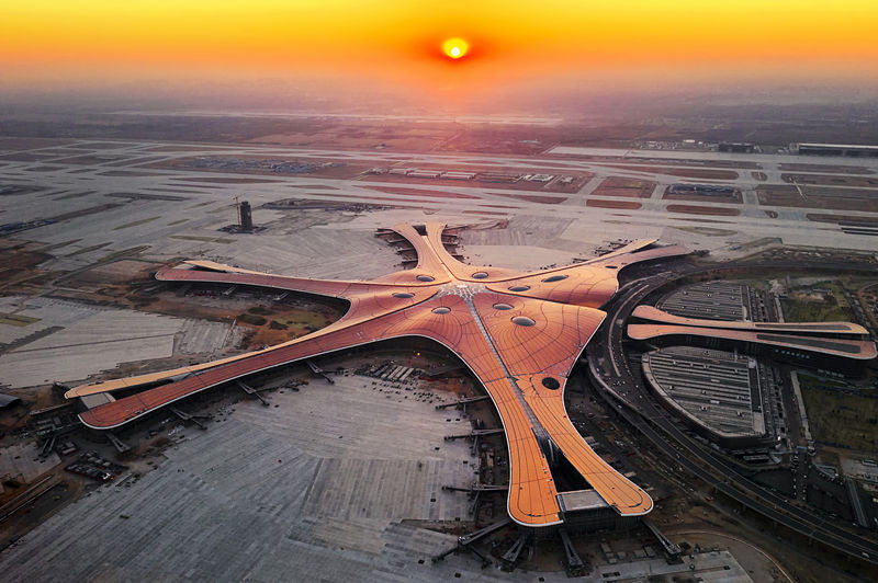 Aerial view of Daxing International Airport (Photo by CFP)