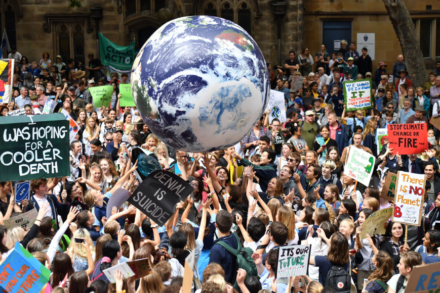 Thousands of school students from across Sydney attend the global #ClimateStrike rally at Town Hall in Sydney, Australia March 15, 2019. AAP Image/Mick Tsikas/via REUTERS