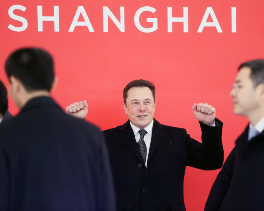 Tesla CEO Elon Musk attends the foundation stone laying ceremony of the electric car producer's supper factory in Lingang Area of Shanghai on January 7, 2019. (Photo by Ding Ting from Xinhua News Agency)