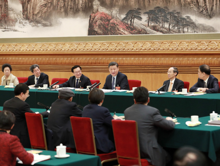 Chinese President Xi Jinping, also general secretary of the Communist Party of China (CPC) Central Committee and chairman of the Central Military Commission, joins deliberation with deputies from central China's Henan Province at the second session of the 13th National People's Congress in Beijing, capital of China, March 8, 2019. (Xinhua/Pang Xinglei)
