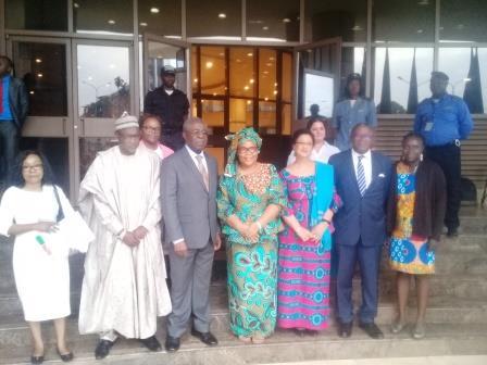 La délégation d'ONU-Femmes, au sortir de l'audience avec le président de la CNPBM, Peter Mafany Musonge.