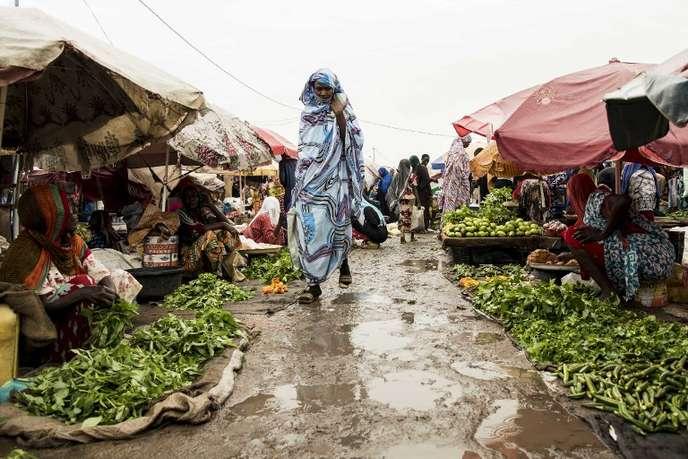 Sur un marché à N'Djamena, au Tchad, en août 2017. XAUME OLLEROS / AFP