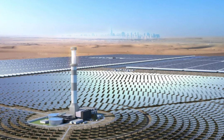Rendering of the concentrated solar power project in Dubai, United Arab Emirates. Photo from Shanghai Electric Power Generation Group