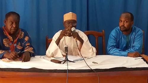 Point de presse de Poddi Djimé Bichara, porte-parole adjoint de la CPDC, lundi 20 mai à N'Djamena. © Alwihda Info