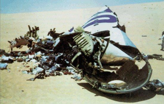 Le DC10 d'UTA après son crash dans le désert. Crédits agence.
